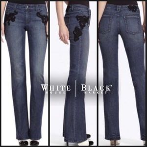 WHBM Blue Med Wash Blanc Lace Denim Boot Cut Jeans